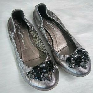 JEFFREY CAMPBELL Pewter Jeweled Flat Shoes